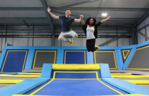 couple at trampoline park
